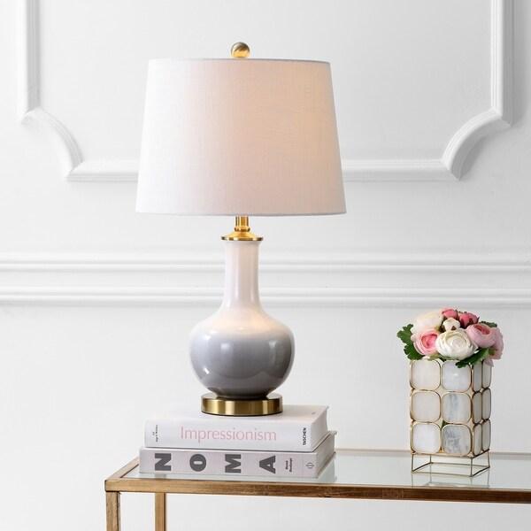 "Gradient 25"" Ceramic/Brass LED Table Lamp, White/Grey"