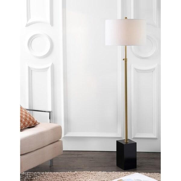 """Lafayette 65"""" Adjustable Height LED Floor Lamp, Brass/Black"""