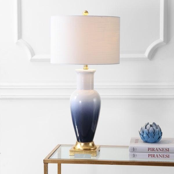 "Dip Dye 31.5"" Ceramic LED Table Lamp, White/Navy"