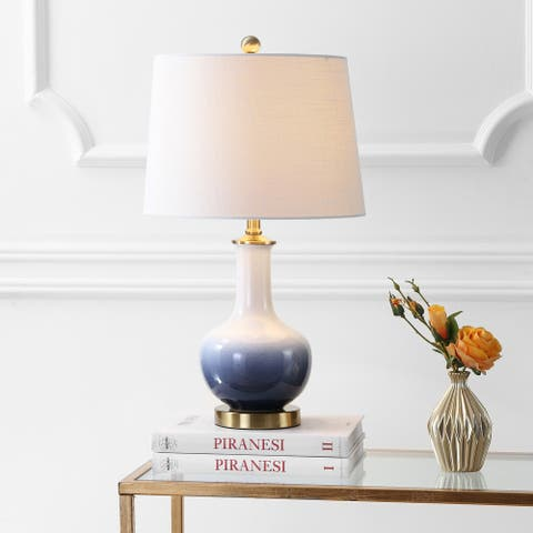 """Gradient 25"""" Ceramic/Brass LED Table Lamp, White/Navy by JONATHAN Y"""