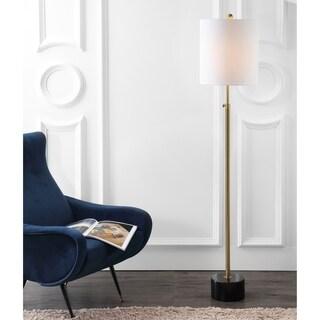 "Crosby 66"" Adjustable Height Metal LED Floor Lamp, Brass/Black Marble"
