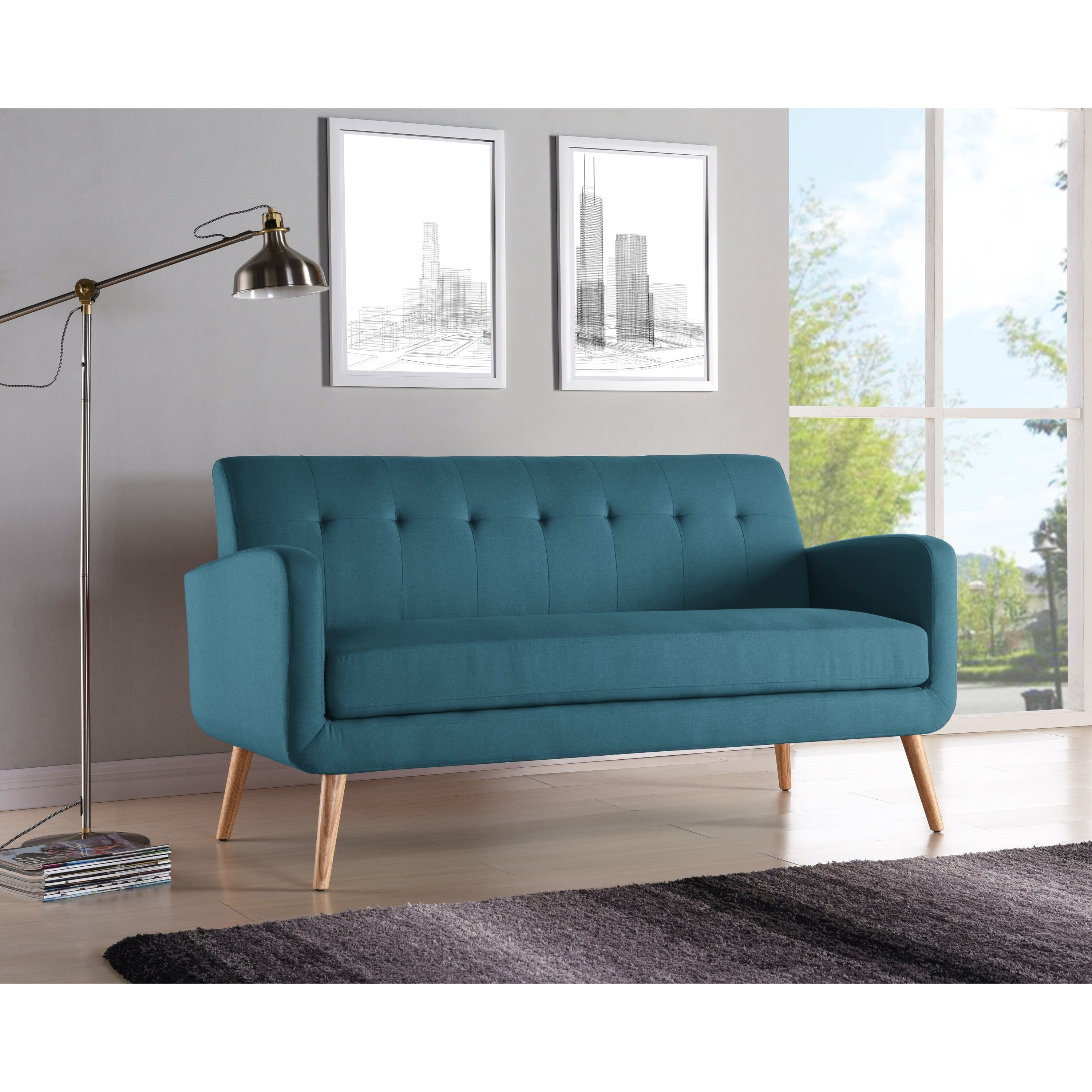 Handy living kingston mid century modern caribbean blue linen sofa