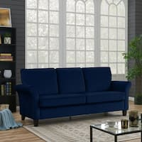 Handy Living Rockford Navy Blue Velvet Flared Arm Sofa