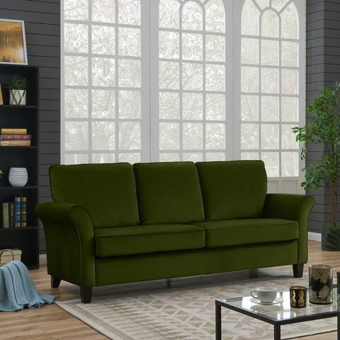 Handy Living Rockford Kale Green Velvet Flared Arm Sofa