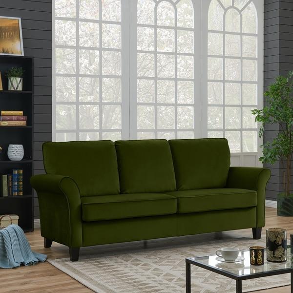 Shop Handy Living Rockford Kale Green Velvet Flared Arm Sofa On