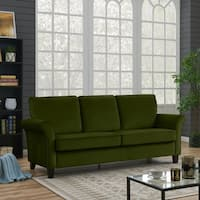 Handy Living Rockford Kale Green Velvet Flared Arm Sofa