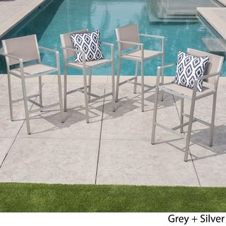 Cape Coral Outdoor Aluminum Barstool (Set of 4) by Christopher Knight Home