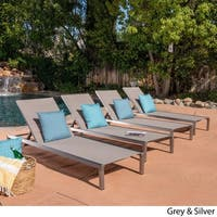 Navan Outdoor Chaise Lounge (Set of 4) by Christopher Knight Home