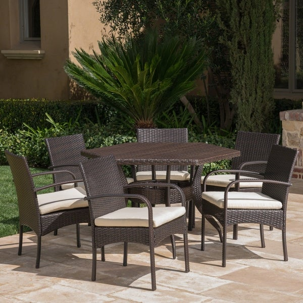 Calder Outdoor 7-Piece Dining Set with Cushions by Christopher Knight Home