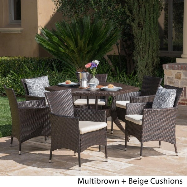 Chapman Outdoor 7-Piece Dining Set with Cushions by Christopher Knight Home