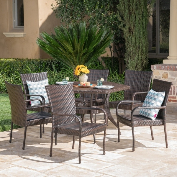 Leighton Outdoor 7-Piece Dining Set by Christopher Knight Home