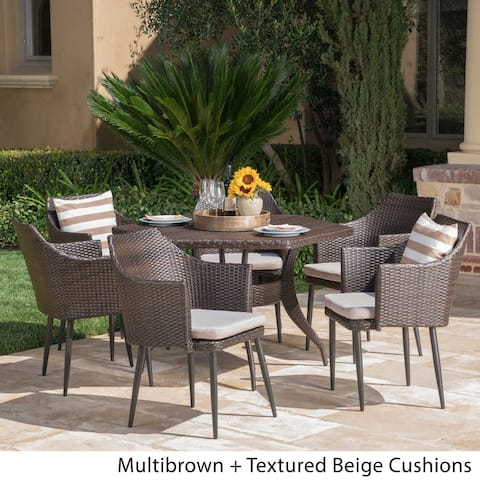 Kenneth Outdoor 7-Piece Dining Set with Cushions by Christopher Knight Home