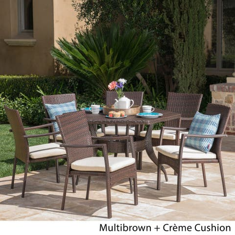 Lawson Outdoor 7-Piece Dining Set with Cushions by Christopher Knight Home