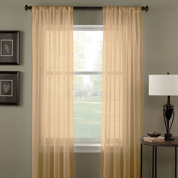 Solid One Panel Sheer Curtain Window Drape 54 X 84 Gold