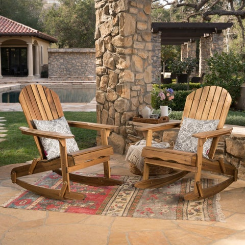 Malibu Outdoor Adirondack Rocking Chair (Set of 2) by Christopher Knight Home