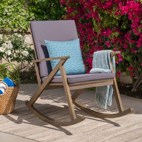 Gus Outdoor Wood Rocking Chair by Christopher Knight Home