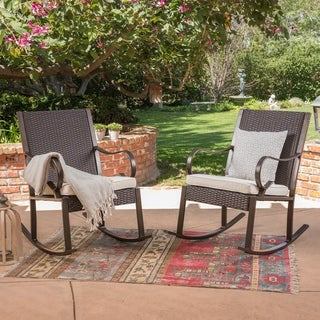 Link to Harmony Outdoor Rocking Chair (Set of 2) by Christopher Knight Home Similar Items in Patio Chairs