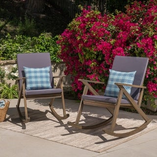 Gus Outdoor Wood Rocking Chair (Set of 2) by Christopher Knight Home