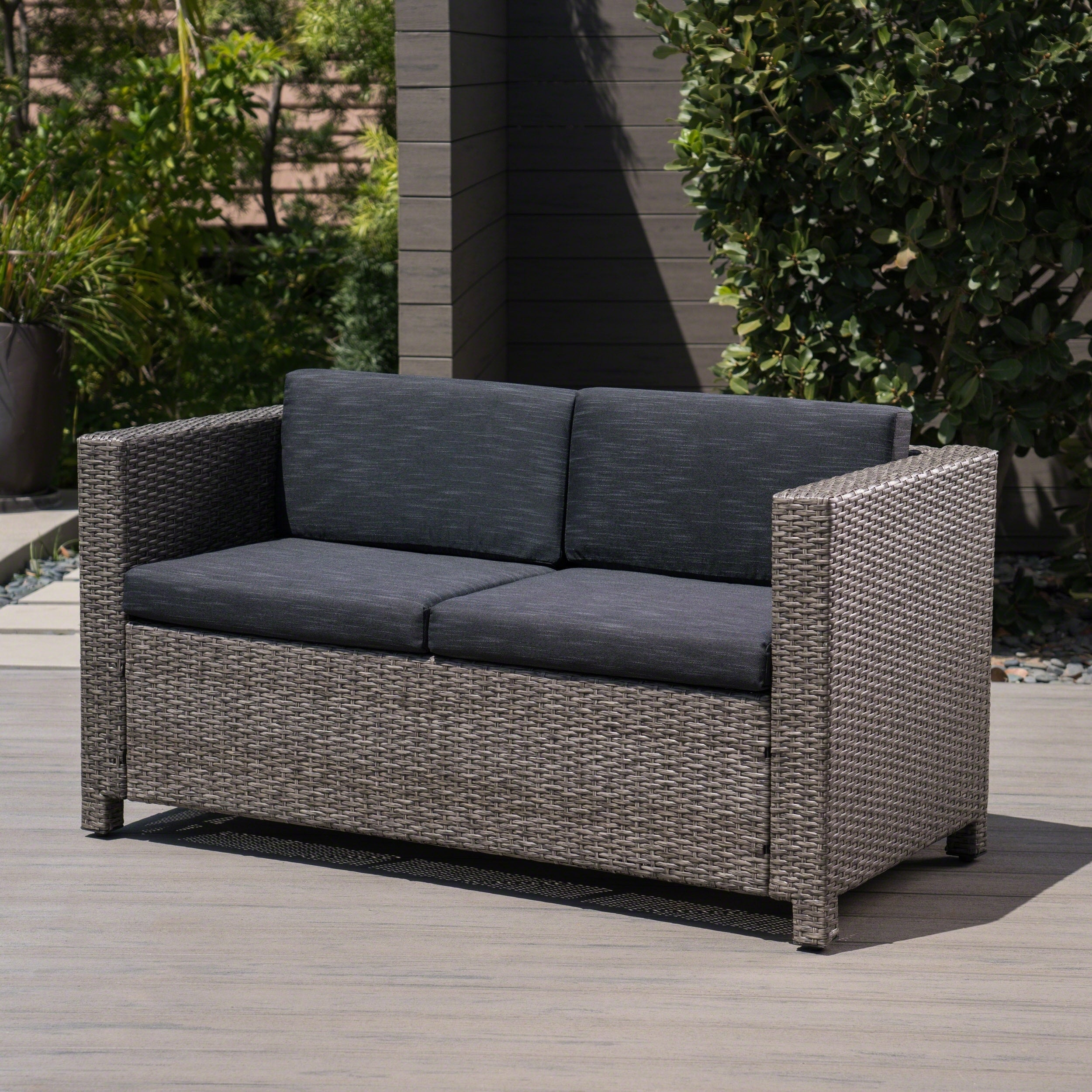Tremendous Details About Puerta Outdoor Wicker Loveseat With Cushion By Christopher Knight Home Cjindustries Chair Design For Home Cjindustriesco