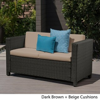 Puerta Outdoor Wicker Loveseat with Cushion by Christopher Knight Home