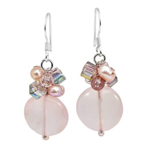 Handmade Stylish Circular Stone & Crystal Cluster Dangle Earrings (Thailand)