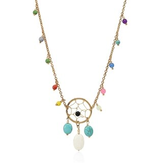Handmade Trendy Mixed Stone & Beads on Brass Dreamcatcher Chain Necklace (Thailand) - MultiColor