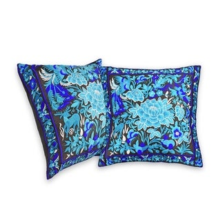 Handmade Gorgeous Tropical Blue Forest Hilltribe Embroidery Throw Pillow Cover Set of 2 (Thailand)