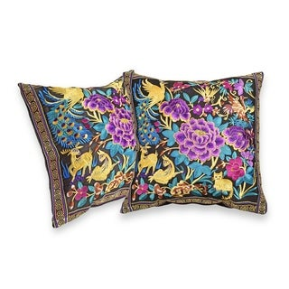 Handmade Vibrant Tropical Forest Blossom Hilltribe Embroidery Throw Pillow Cover Set of 2 (Thailand)