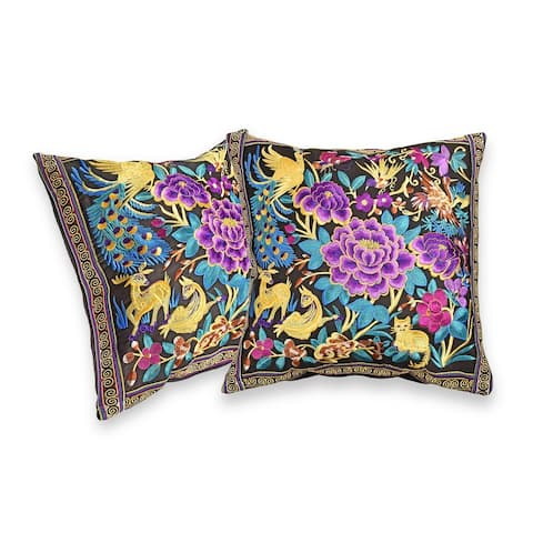 Handmade Vibrant Tropical Forest Blossom Hilltribe Embroidery Throw Pillow Cover, Set of 2 (Thailand)