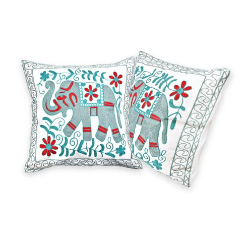 Embroidered Majestic Floral Elephant Accents Throw Pillow Cover Set of 2 (Thailand)