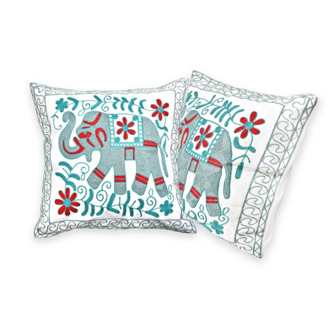 Handmade Embroidered Majestic Floral Elephant Accents Throw Pillow Cover Set of 2 (Thailand)