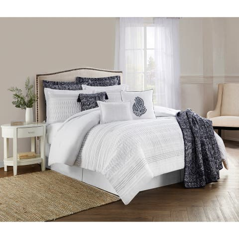 Lara White 10-Piece Bed in a Bag Set Featuring Pintucking and Embroidery