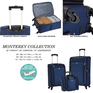 Travelers Club Monterey 3-Piece Spinner Luggage Set