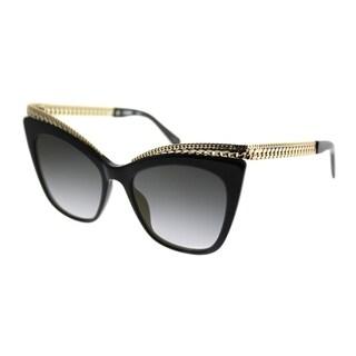 Moschino Cat-Eye 009/S 807 FQ Women Black Frame Gold Gradient Mirror Lens Sunglasses