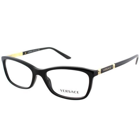 Versace Rectangle VE 3186 GB1 Unisex Black Frame Eyeglasses