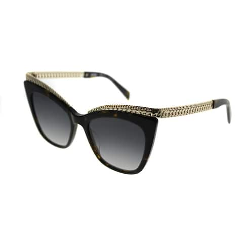 Moschino Cat-Eye 009/S 086 9O Women Dark Havana Frame Dark Grey Gradient Lens Sunglasses