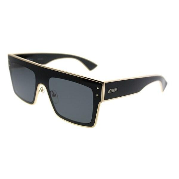 be8807e1c715 Moschino Rectangle 001/S 807 IR Unisex Black Frame Grey Lens Sunglasses