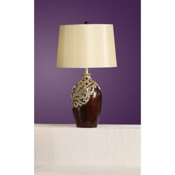 Polyresin Table Lamp Silver & Brown Set of 2