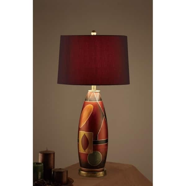 Deep Red Drum Shade Table Lamp With Mosaic Pattern Base