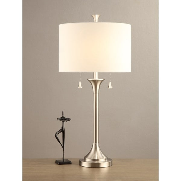 Drum Shade Table Lamp With Metal Stand In Silver Set of 2