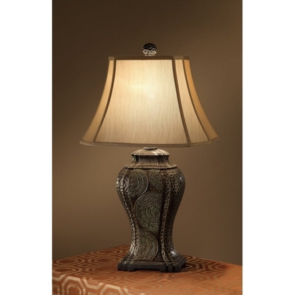 Corner Square Shade Table Lamp With Vase Design Base Bronze Set of 2