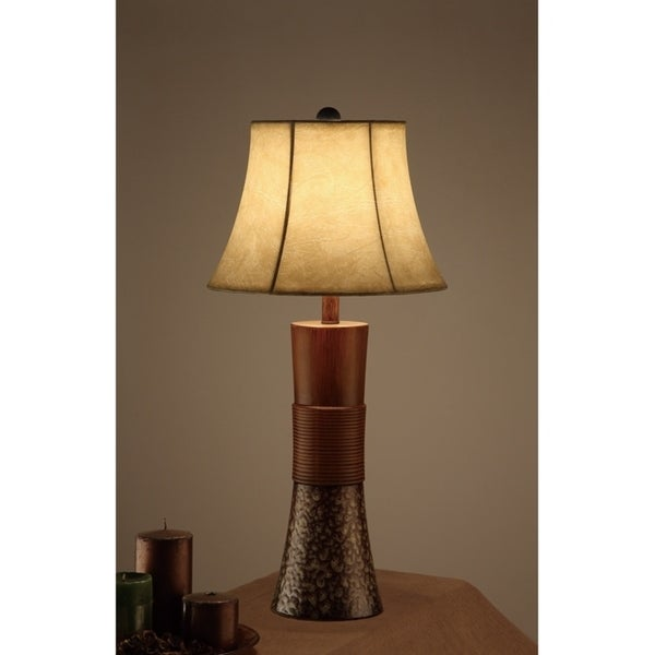 Bell Shade Table Lamp With Tall Base Stand Brown set of 2