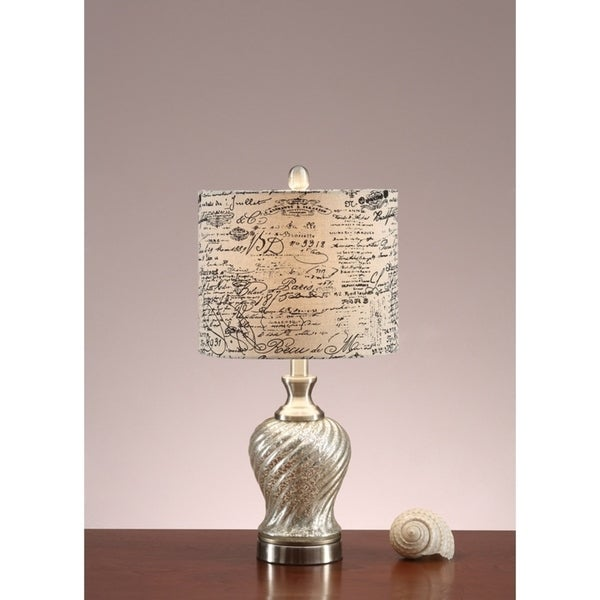 Polyresin Table Lamp With Paper Print Shade White And Gold Set of 2