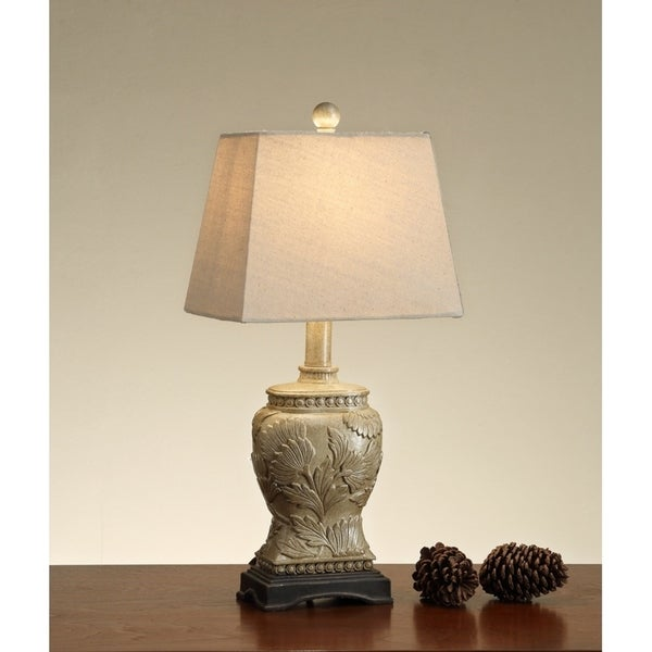 Carved Base Polyresin Table Lamp Gold Set of 2