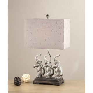 Rectangular Shade Table Lamp With Elephants Stand Set of 2, Silver