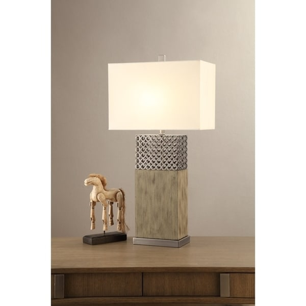 Rectangular Shade Table Lamp With Wood & Metal Base Set of 2, Natural Wood Brown