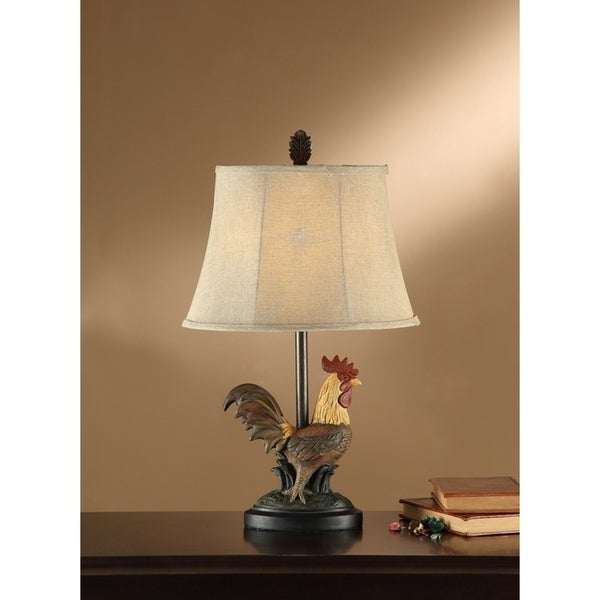 Tan Shade Table Lamp With Rooster Base Set of 2 Multicolor