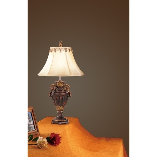 Antiqued Resin Table Lamp Set of 2