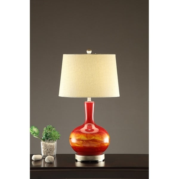 Drum shade Table Lamp With Vase Base In Red Set of 2