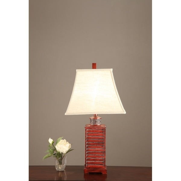 Square Belled Shade Table Lamp With Carved Base Red Set of 2